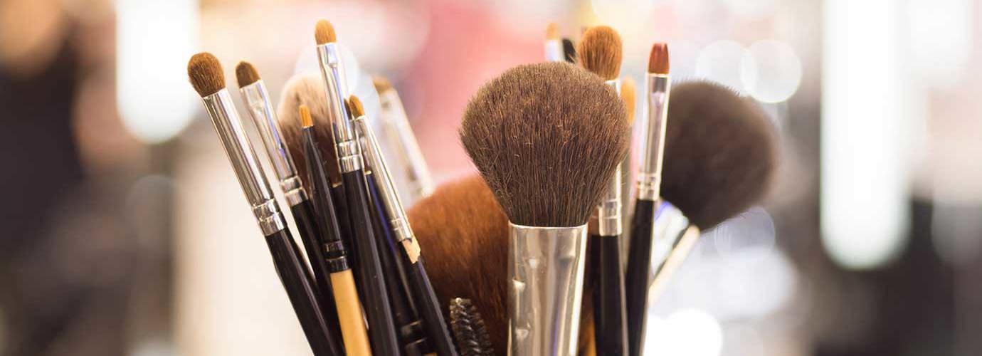 Close up of professional makeup brushes