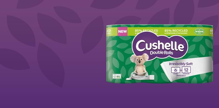 NEW Cushelle Double Rolls in 85% Recycled and Renewable Packaging